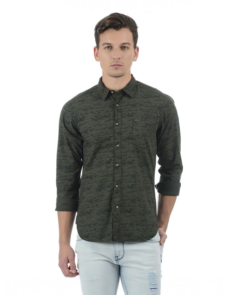Pepe Jeans Men Abstract Green Shirt
