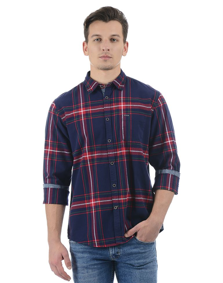Pepe Jeans Men Checkered Navy Shirt
