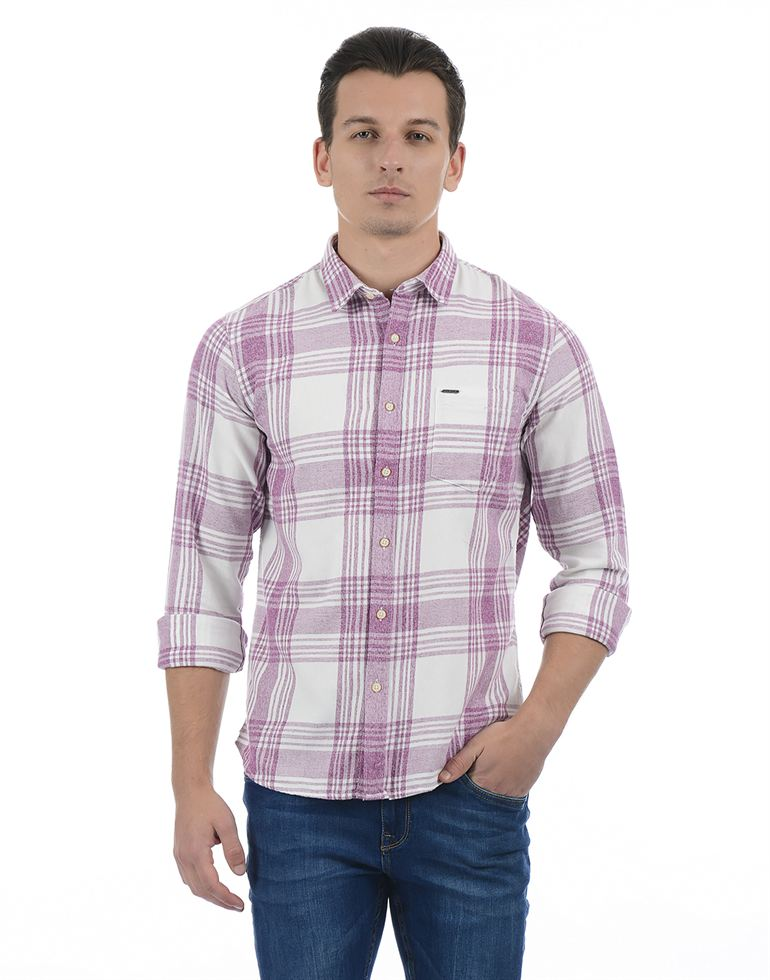 Pepe Jeans Men Checkered Maroon Shirt