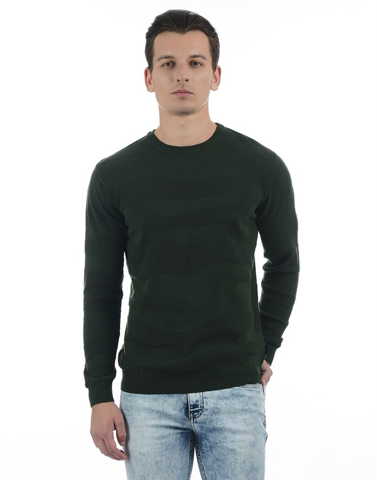 Pepe Jeans Men Solid Green Sweater