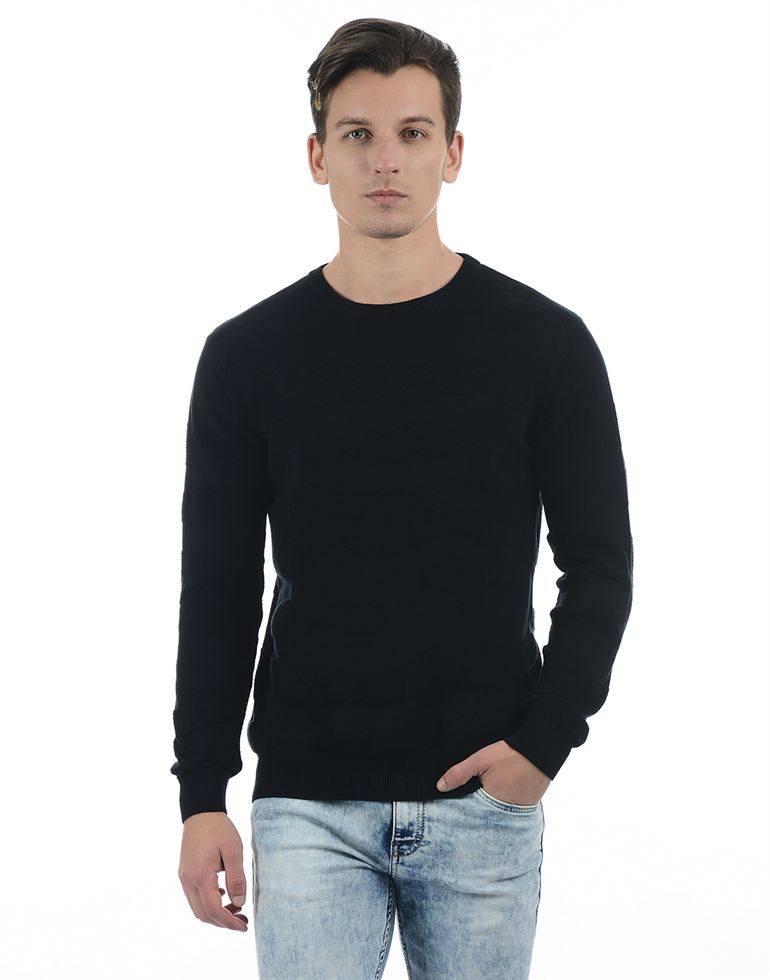Pepe Jeans Men Solid Black Sweater
