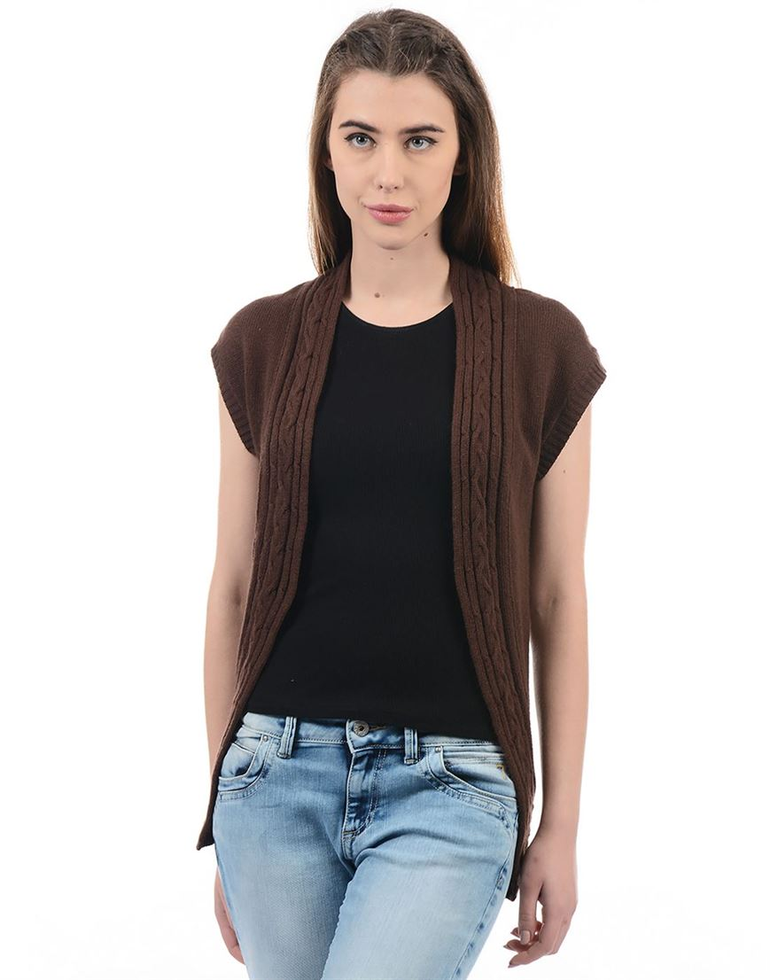 Species Women Brown Solid Shrug