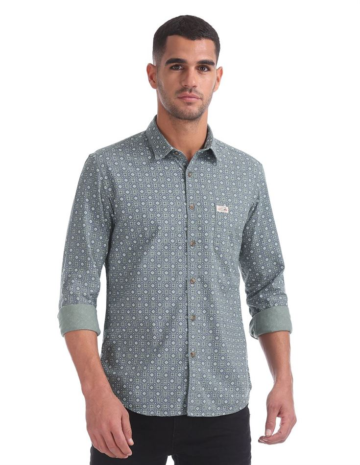 U.S. Polo Assn. Men Casual Wear Printed Shirt