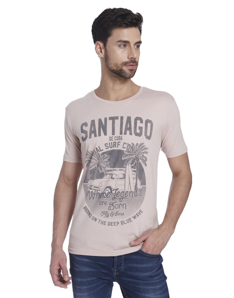 Only N Sons Men Casual Wear Printed T-Shirt