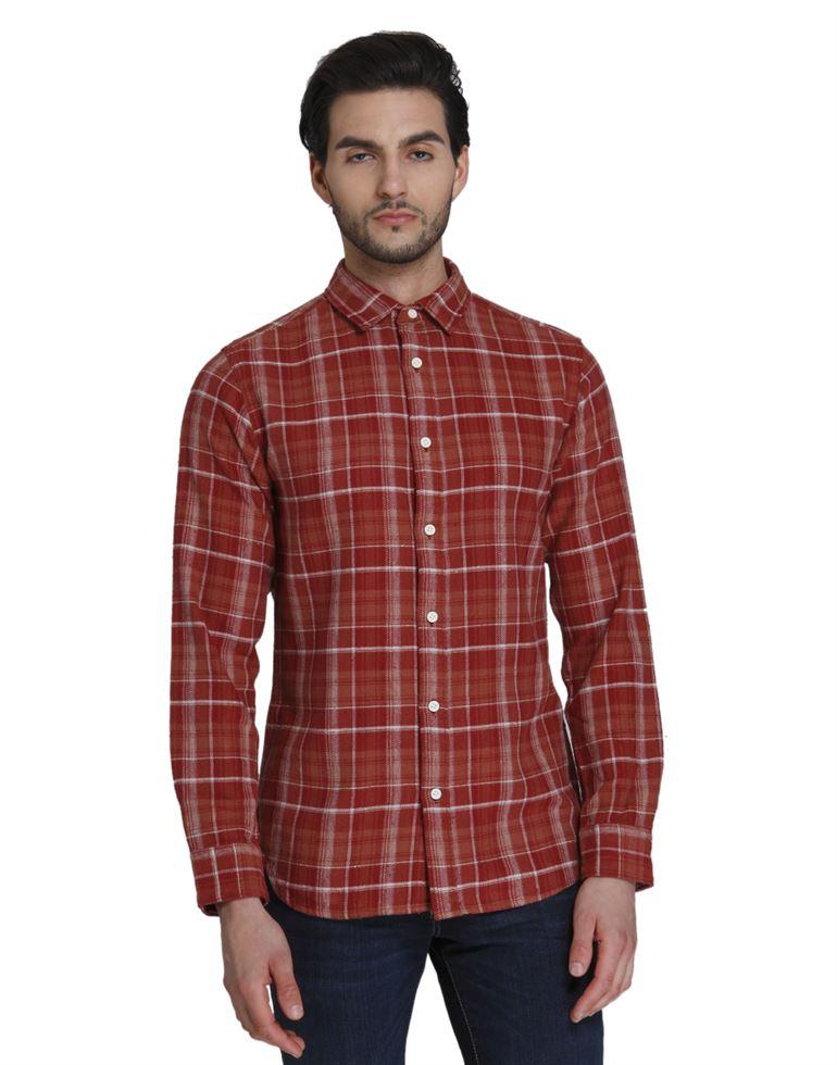 Selected Men Casual Wear Checkered Shirt