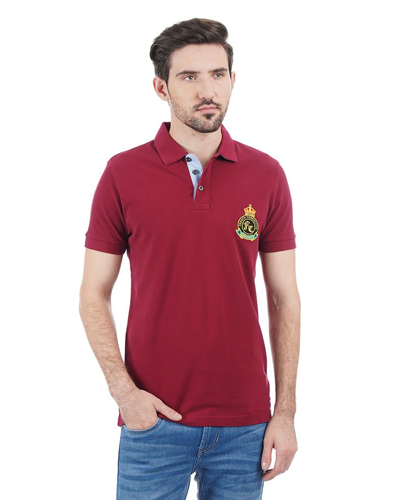 French Connection Men Maroon T-shirt