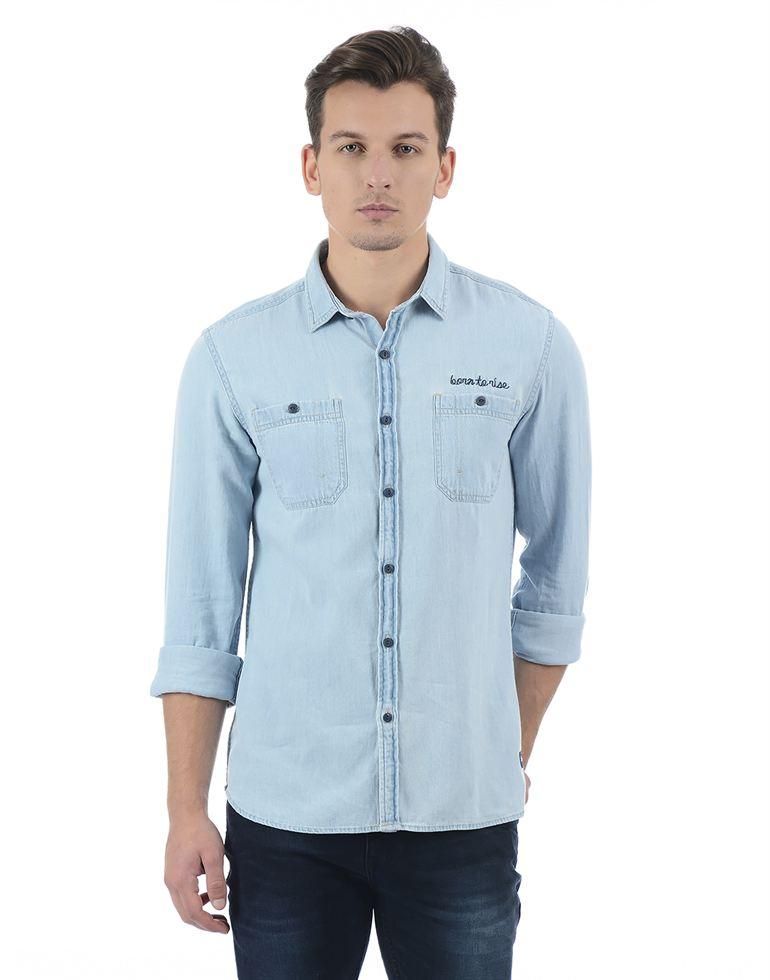 Flying Machine Men Blue Shirt