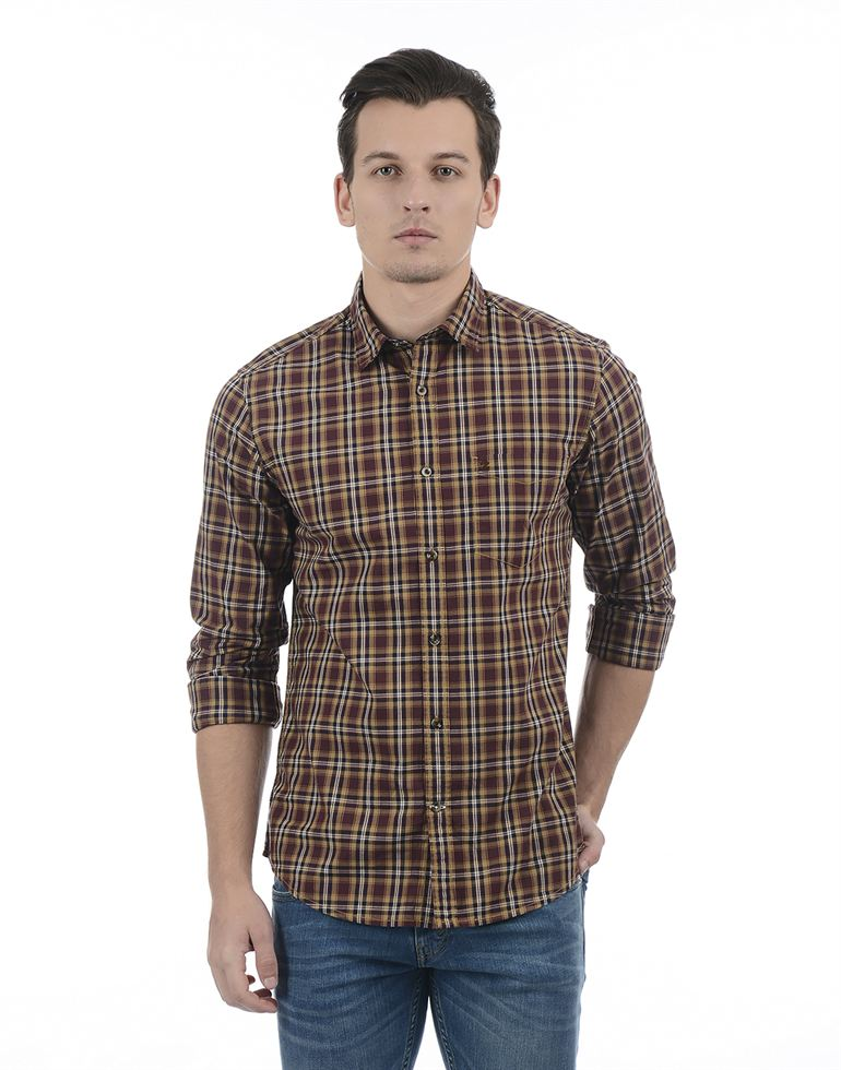 Izod Men Casual Wear Checkered Shirt