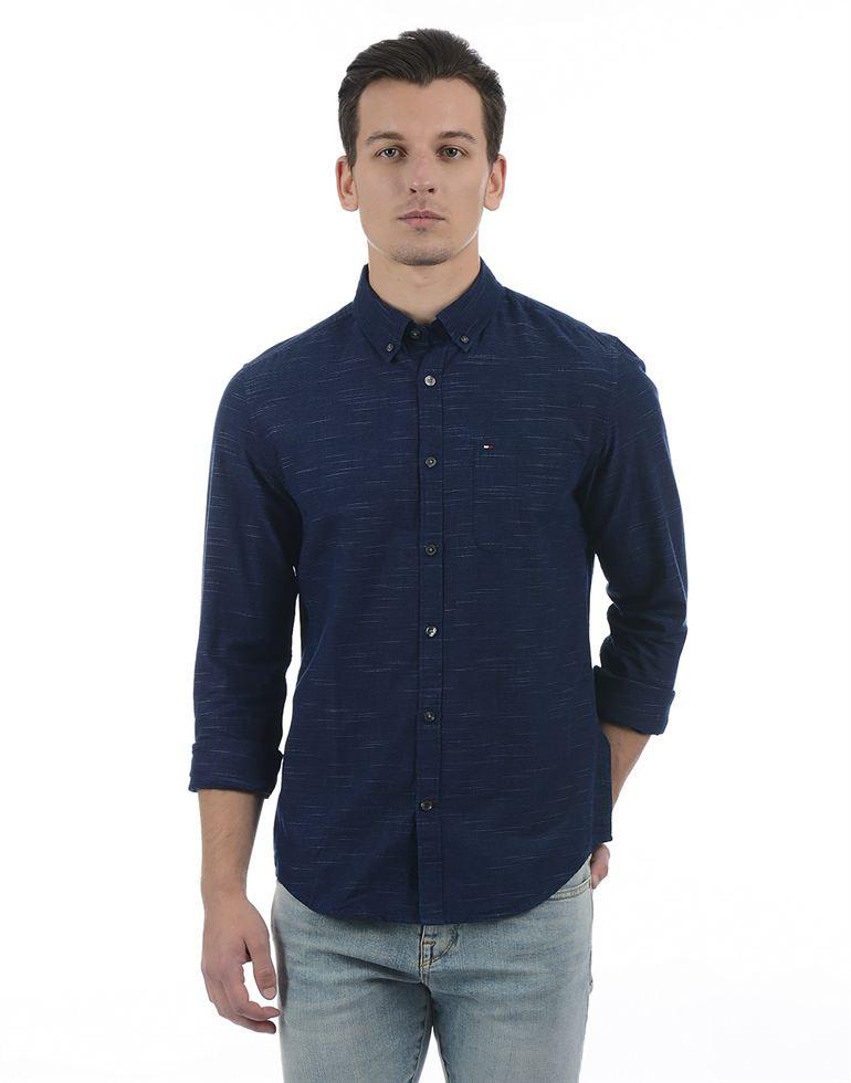 Tommy Hilfiger Men Casual Wear Solid Shirt