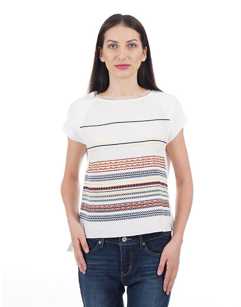 Elle Women Casual Wear Striped T-Shirt