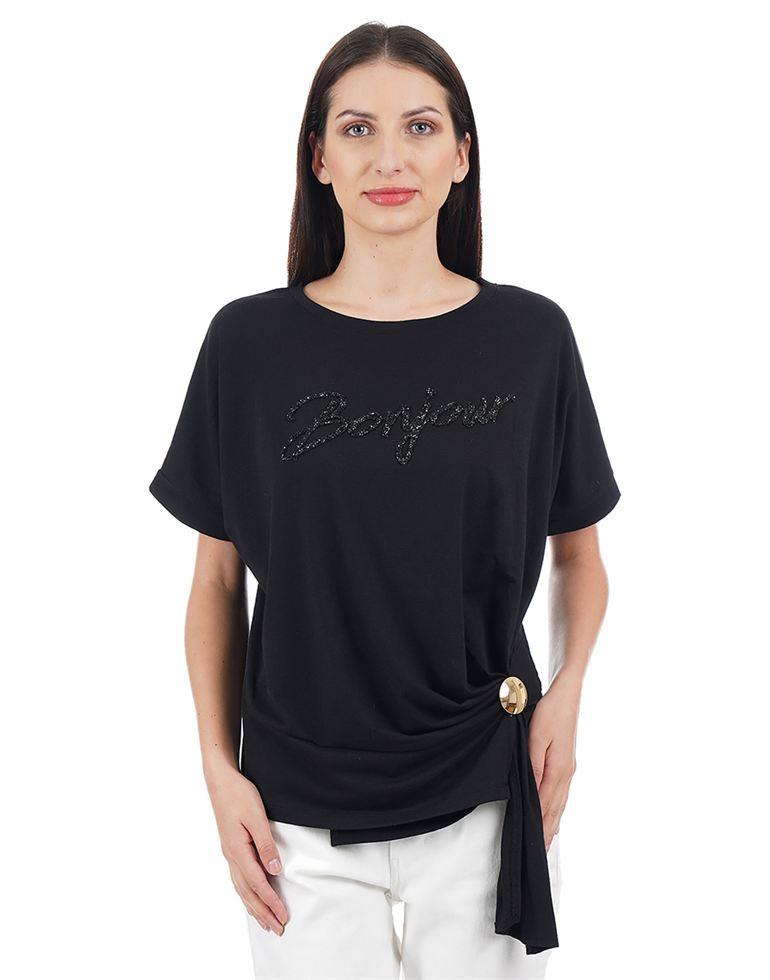 Elle Women Casual Wear Embellished T-Shirt