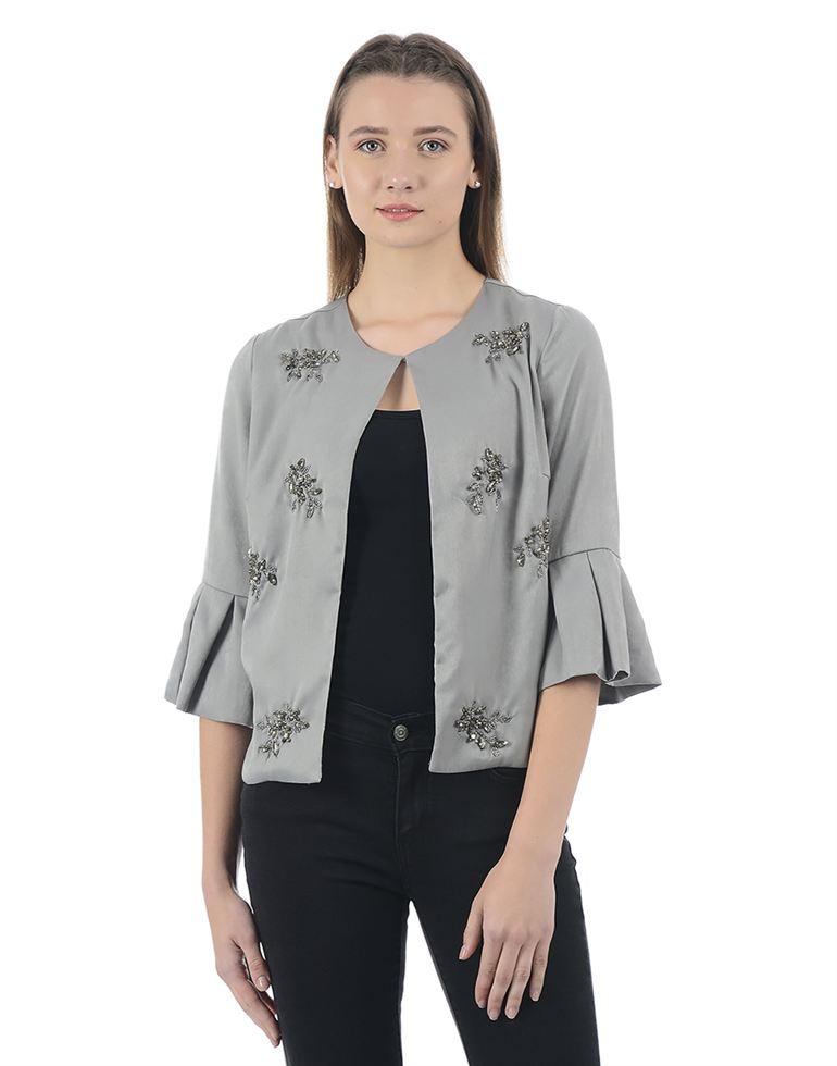 Kazo Women Casual Wear Applique Shrug