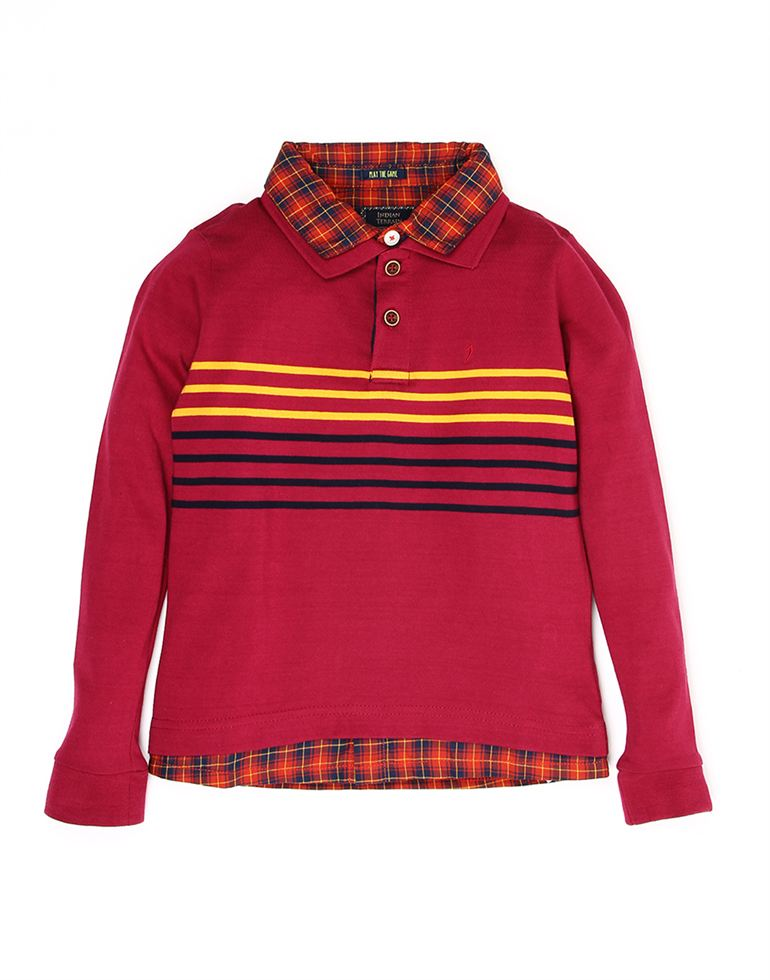 Indian Terrain Boys Red Casual T-Shirt