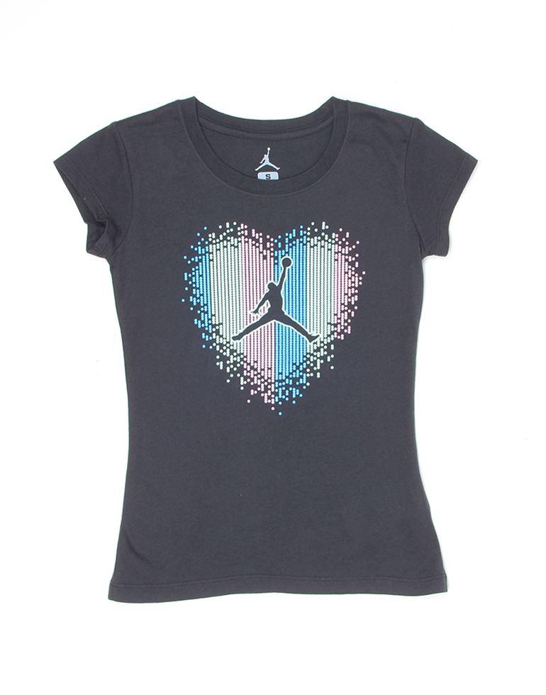 Jordan Girls Black Printed T-Shirt