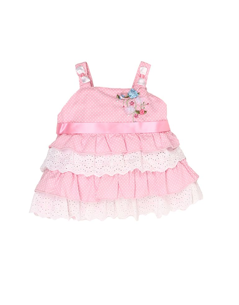 K.C.O 89 Baby Girls Casual Polka Print Sleeveless Frock
