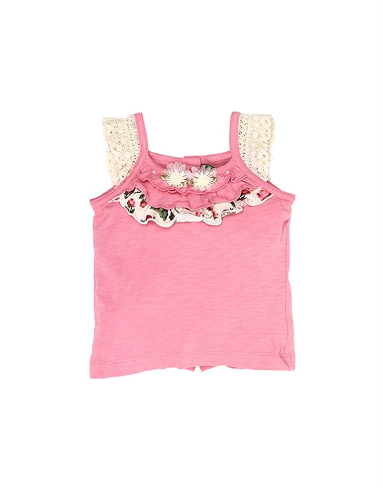 K.C.O 89 Baby Girls Casual Solid Cap Sleeve Top