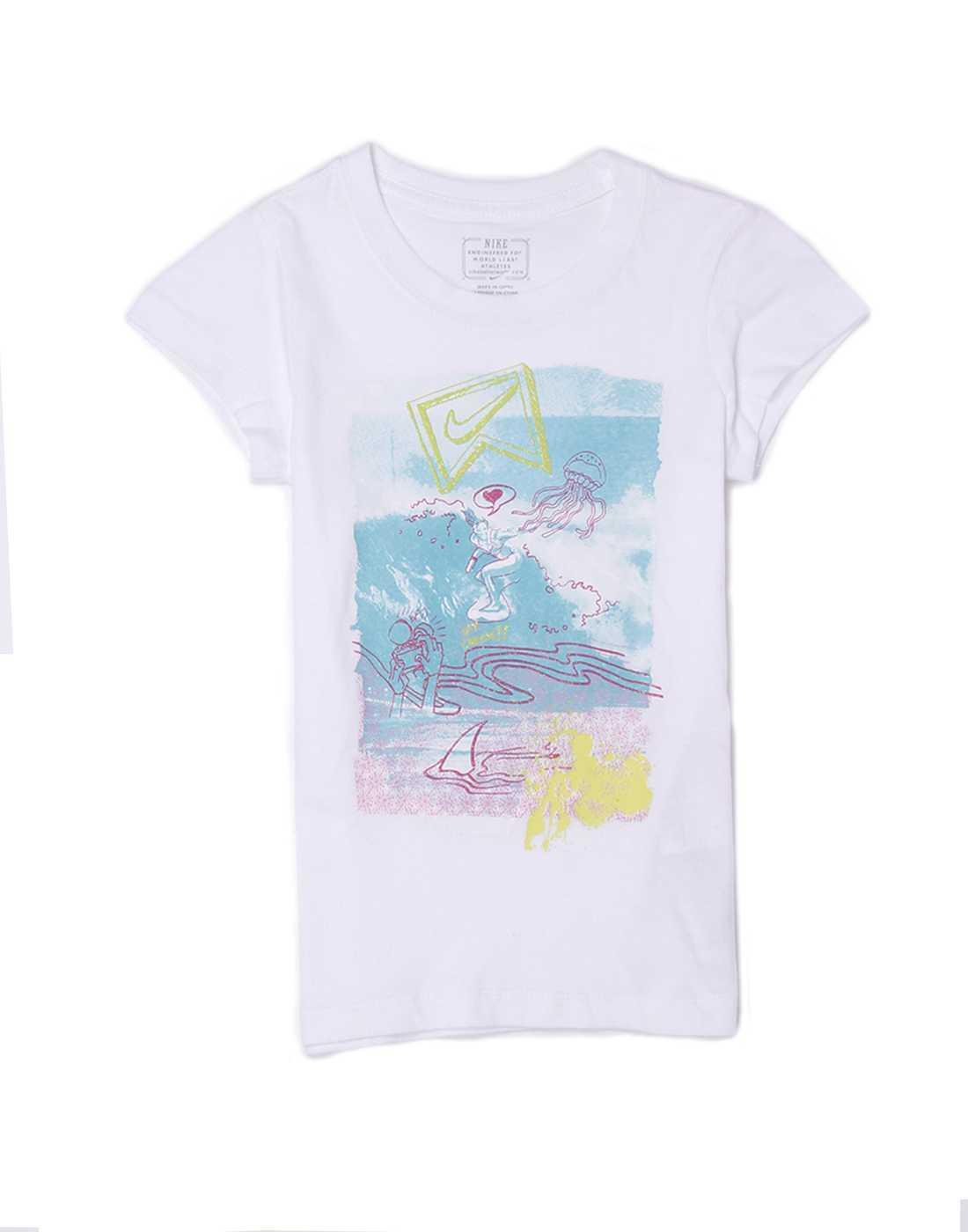 Nike Girls Casual Wear Graphic Print Top