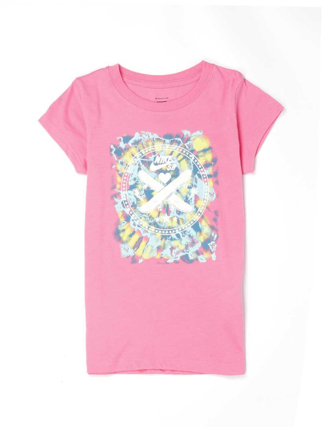 Nike Pink Cotton Girls T-Shirt