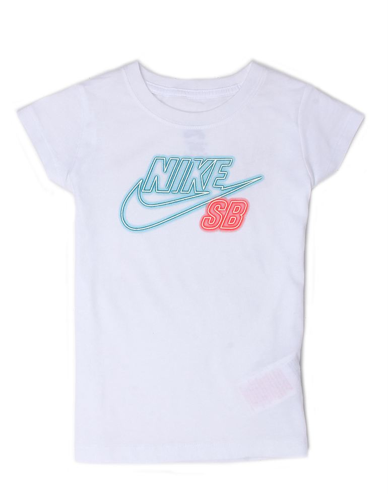 Nike White Cotton Girls T-Shirt