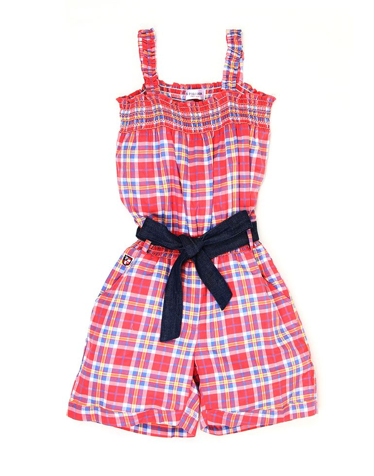 U.S. Polo Assn. Casual Checkered Girls Jump Suit