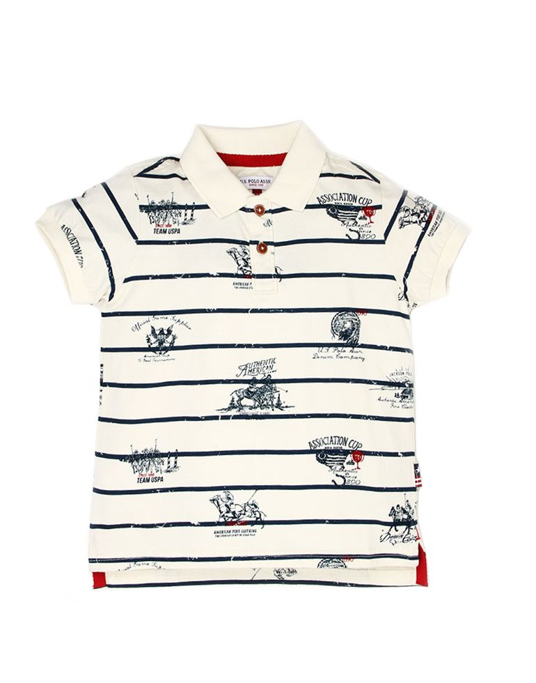 U.S. Polo Assn. Boys Casual Wear Printed Polo T-Shirt