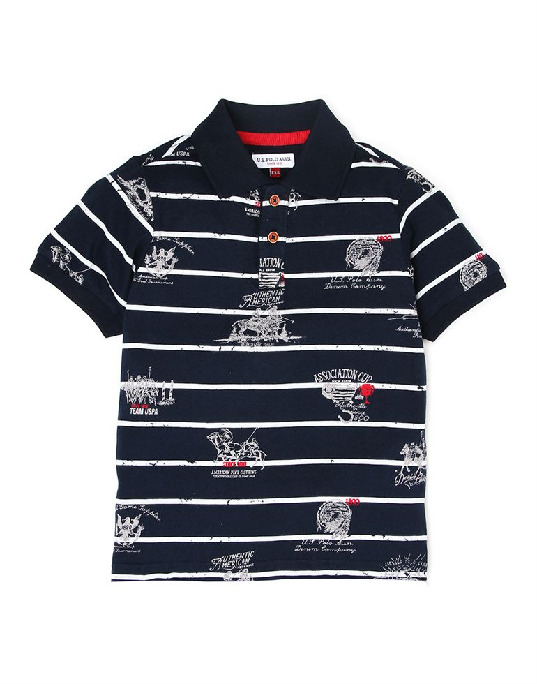 U.S. Polo Assn. Boys Casual Wear Striped Polo T-Shirt
