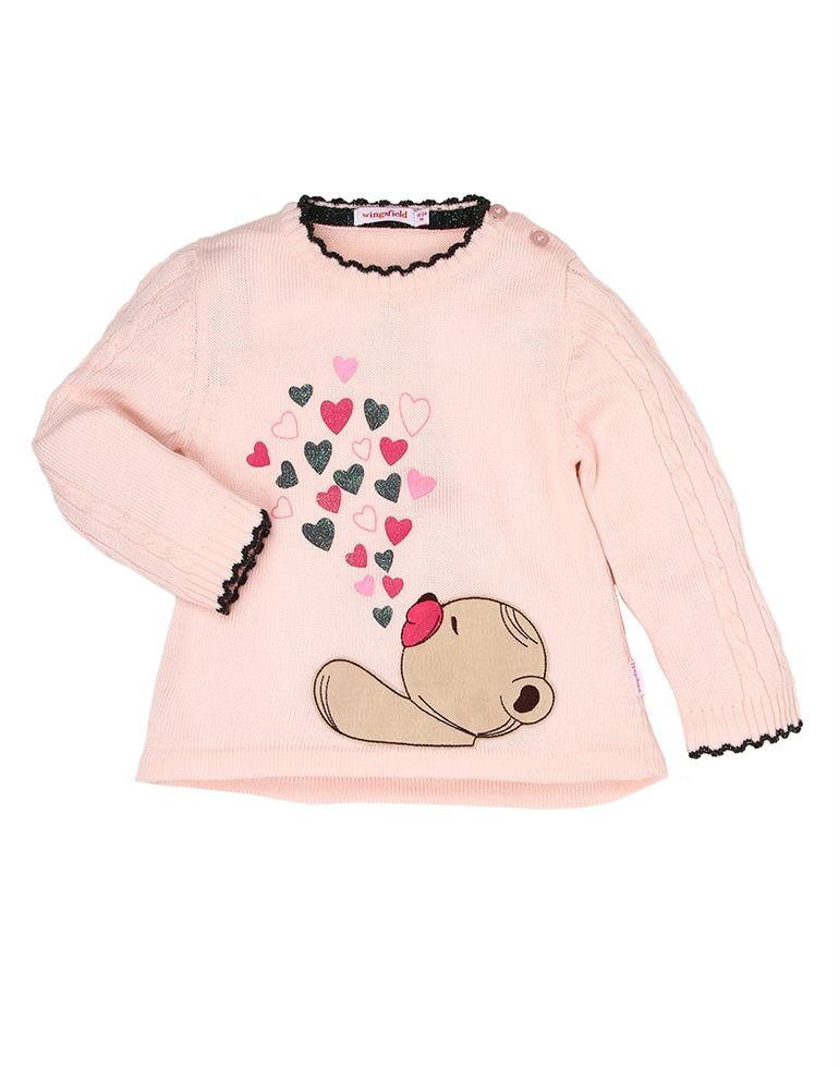 Wingsfield Casual Printed Girls Sweater