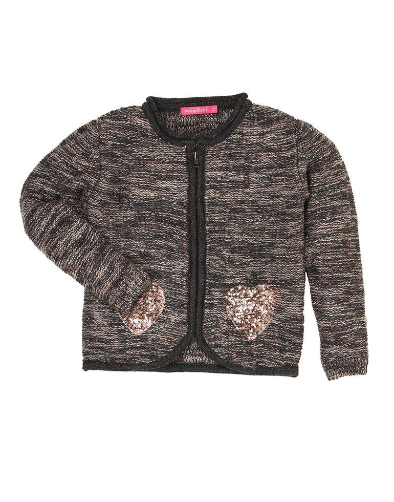 Wingsfield Casual Self Design Girls Sweater