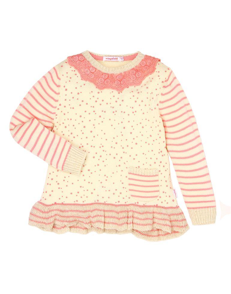 Wingsfield Casual Striped Girls Sweater