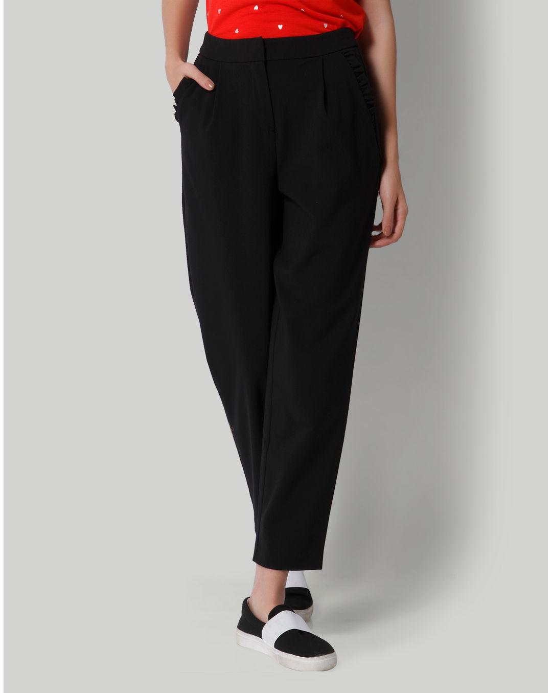 Only Women Casual Wear Solid Trouser