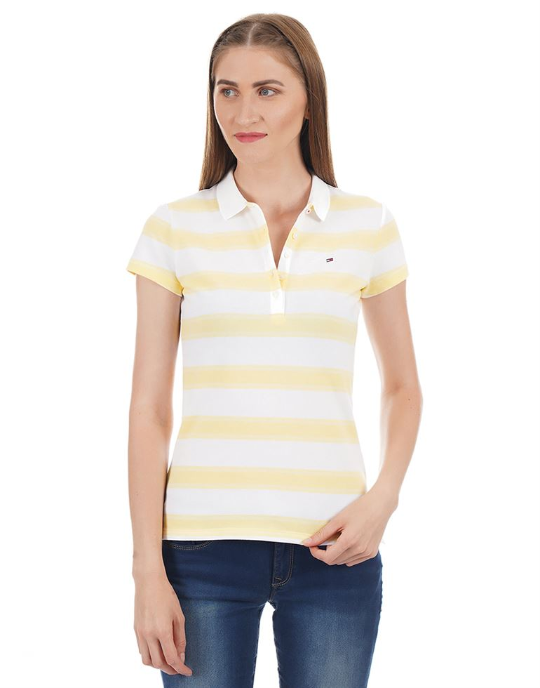 Tommy Hilfiger Women Striped Casual Wear T-shirt