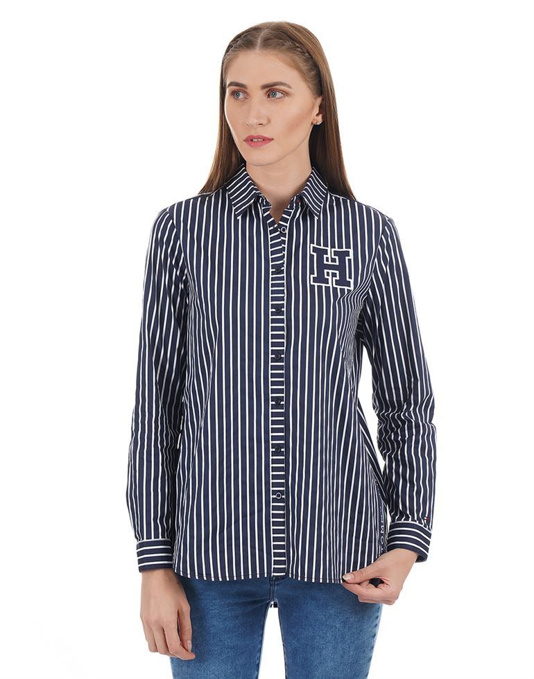 Tommy Hilfiger Women Striped Casual Wear Shirt