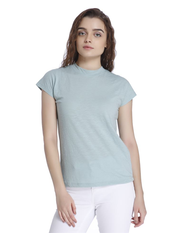 Vero Moda Women's Half Sleeve Blue Top