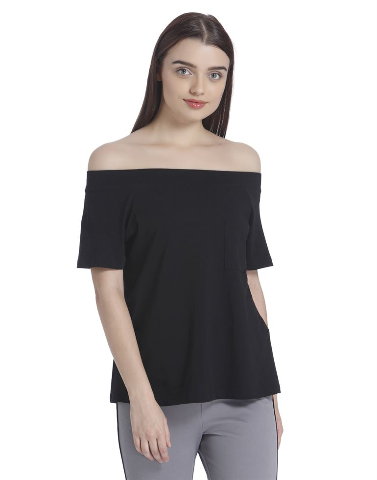 Vero Moda Women's Half Sleeve Black Top